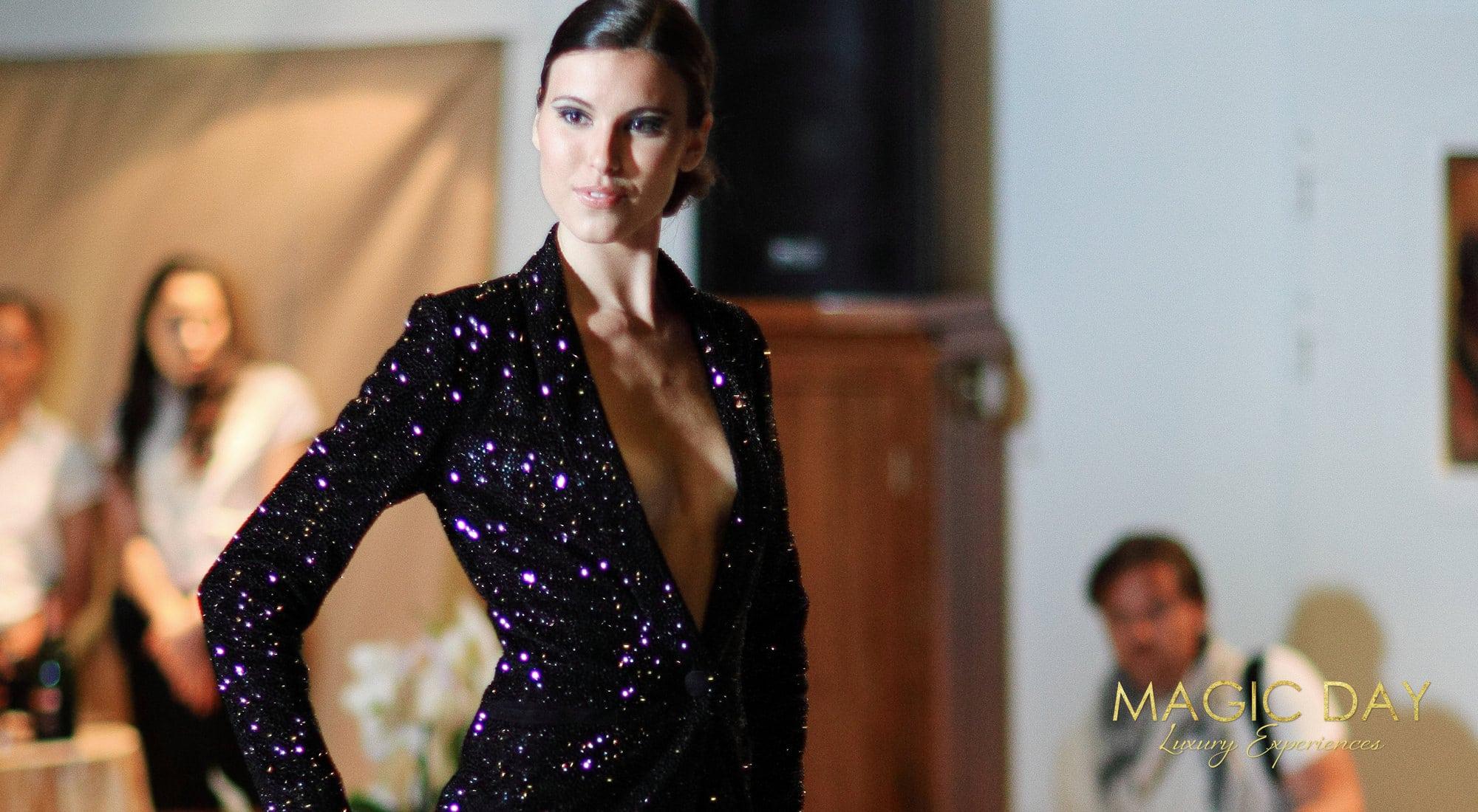 Fashion show aboard Christina O mega yacht