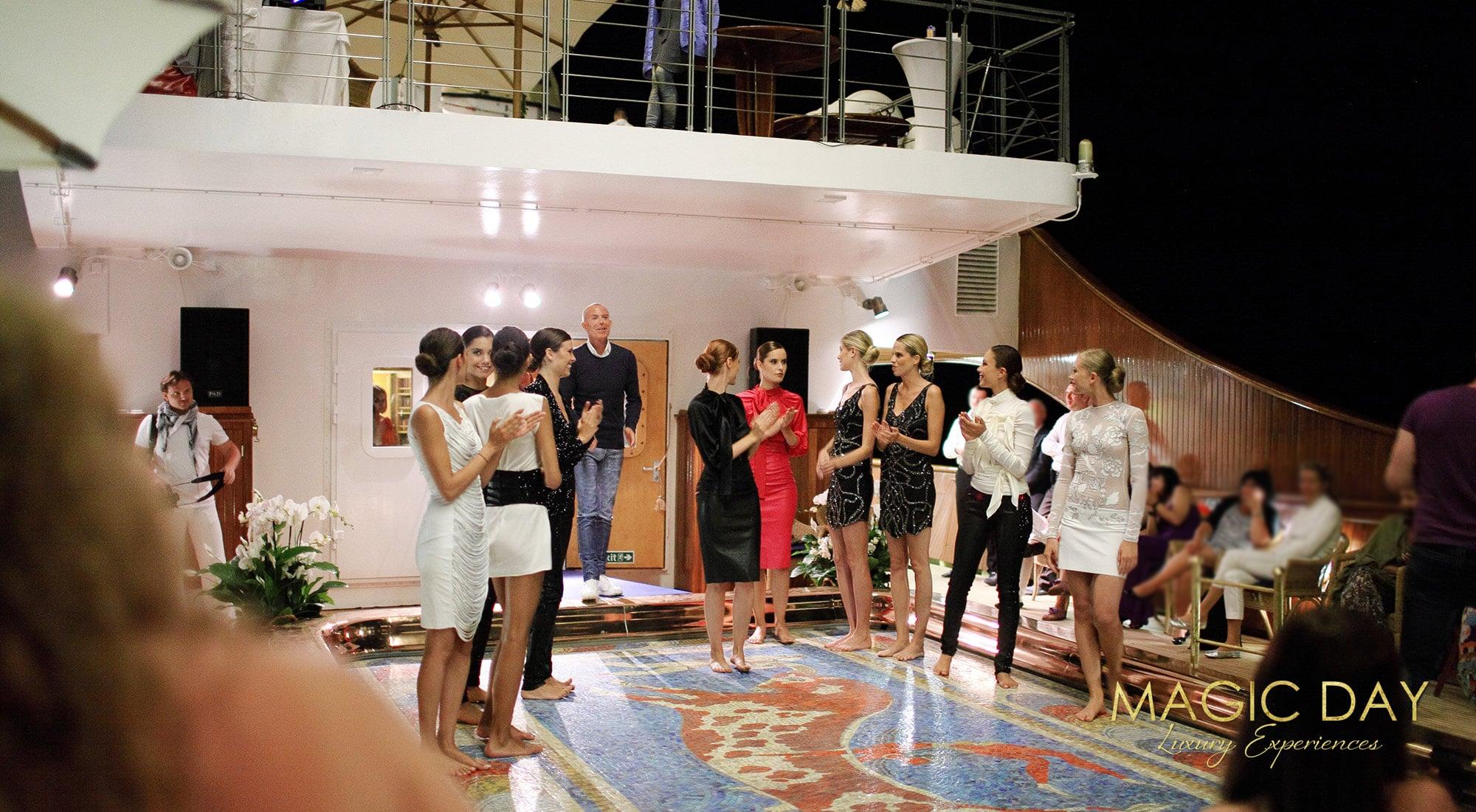 Jean-Claude Jitrois fashion show aboard Christina O mega yacht